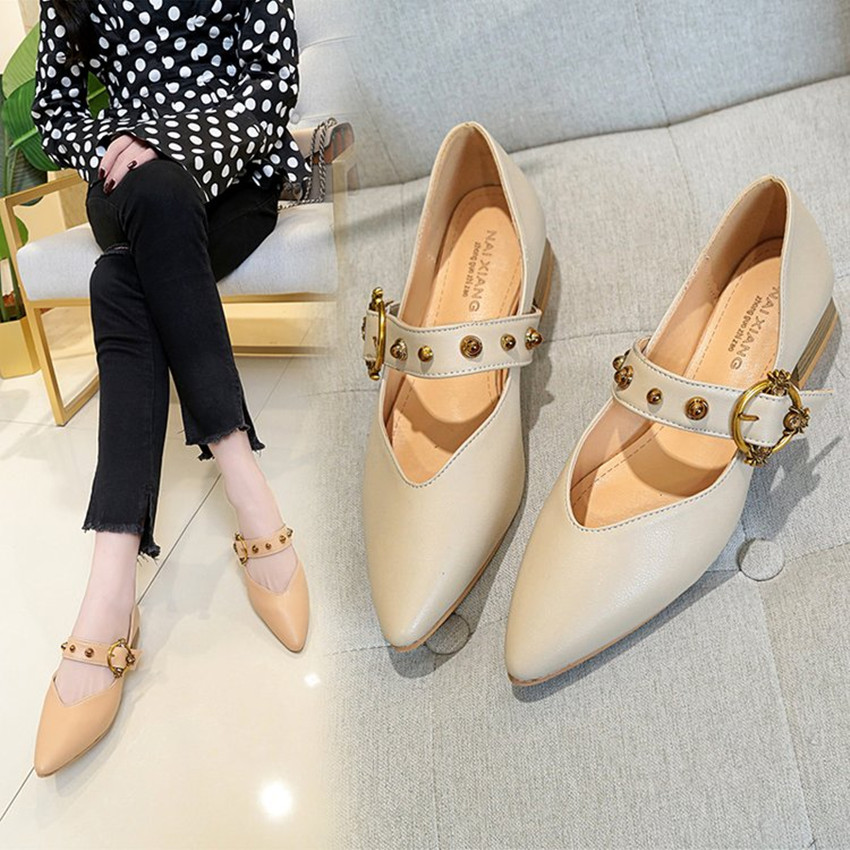 Women's Shoes  Pumps 2018 New Style Autumn Pointed Toe  Casual Buckles  Casual Shoes.