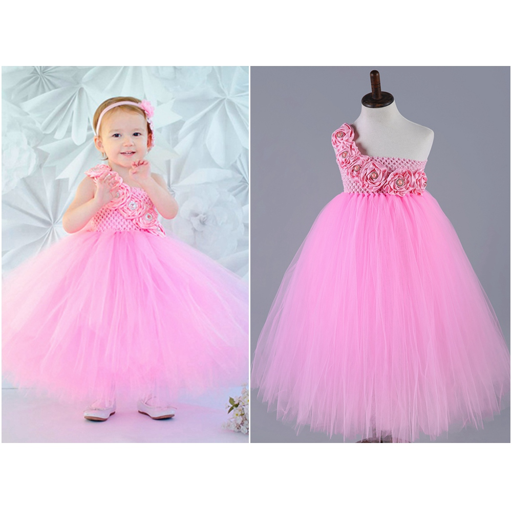 6 Color Flower Girls Dresses for Wedding Pink White Red  Blue Kids Children Ball Gown Pageant Party Flower girl dress 2-10y 3 color red pink blue cherry cardigan coat