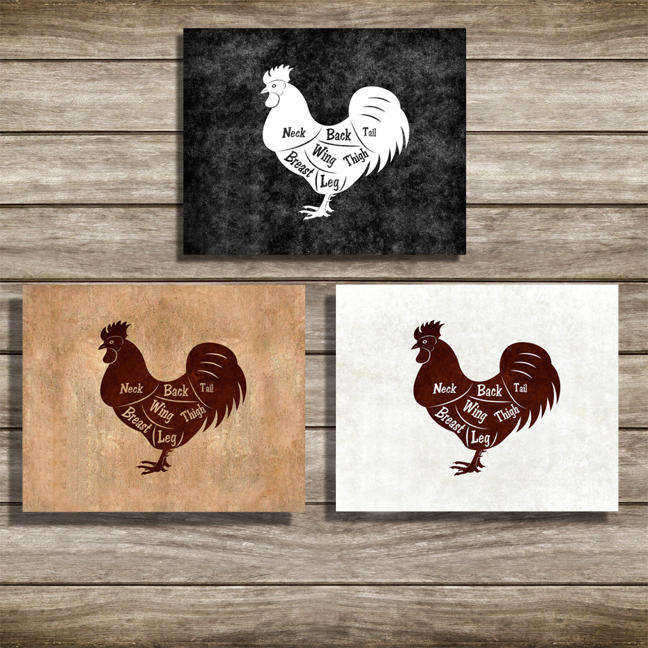 Vintage Chicken Meat Cuts Butchers Kitchen Wall Art Canvas Print Animals Picture and Posters Dining Room Home Decorative Gifts (5)