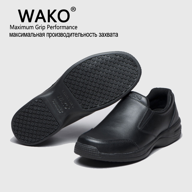 WAKO Professional Chef Work Anti-slip Shoes Men Cook Shoes Safety Black Slip-on Shoes For Unisex france tigergrip waterproof work safety shoes woman and man soft sole rubber kitchen sea food shop non slip chef shoes cover