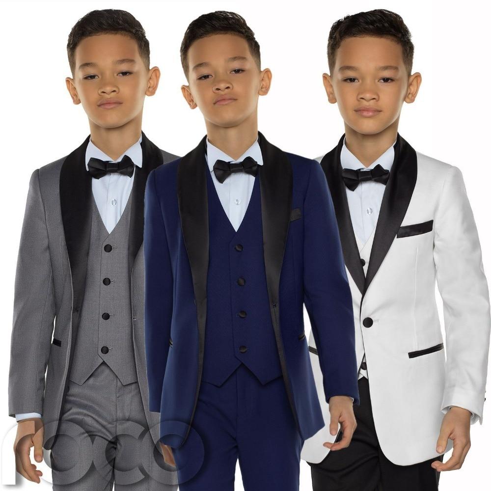 Boys Tuxedo, Dinner Suits, Formal Tuxedo for Kids, Kids 4 pcs Suits Jacket + vest pants bow tie