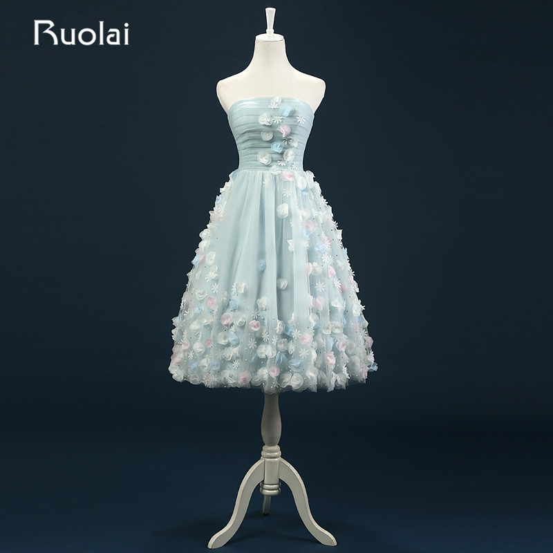Delicate Real Sweetheart Sleeveless Knee Length Tulle Flowers Beads Short   Prom     Dress   Formal Party   Dress   Vestido de fiesta FP2