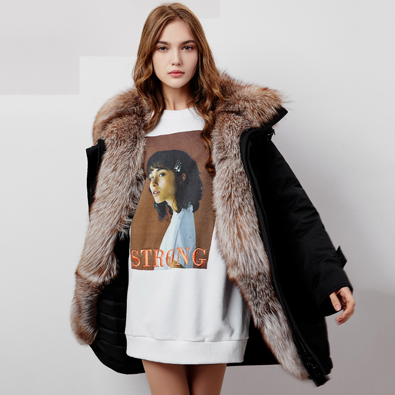 Oversized Real Fox Fur Collar 90% White Duck   Down   Jacket Women Long Fur Parka 2019 New Arrival Women's Silver Winter   Down     Coats