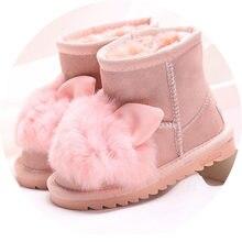 76db428d9 Princesa girls zapatos de conejo botas de nieve para las niñas zapatos de invierno  con piel natural niños botas de cuero genuino.