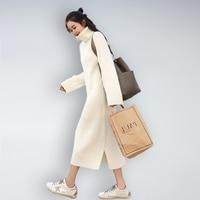 Knitted Turtle Neck Plus Size Long Korean Sweater Dress Elegant Long Sleeve White Pullover Dress Women Vestidos Autumn 2018