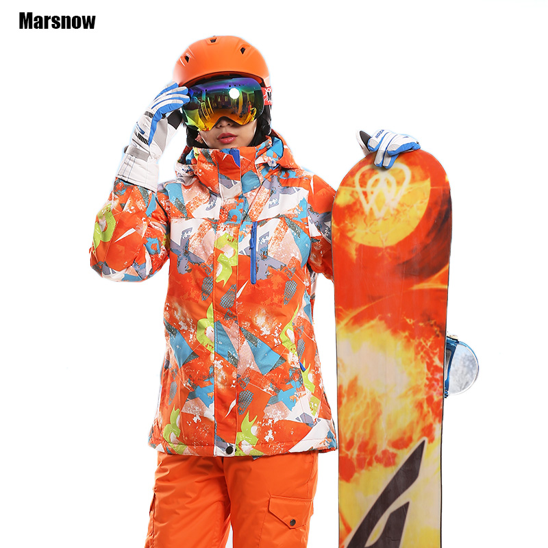 Ski Jacket Thicken New 2018 print warm thermal waterproof windproof Hooded Outwear snow snowboard winter jacket for women new winter jacket women snow ski hooded waterproof windproof breathable double layer thicken hiking fishing coat outwear