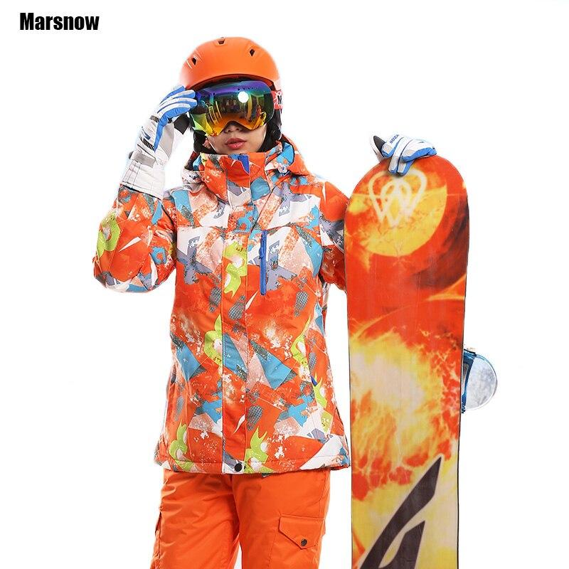 Prix pour Ski Veste Épaissir Nouveau 2017 imprimer chaud thermique imperméable coupe-vent À Capuche Outwear neige snowboard veste d'hiver pour femmes