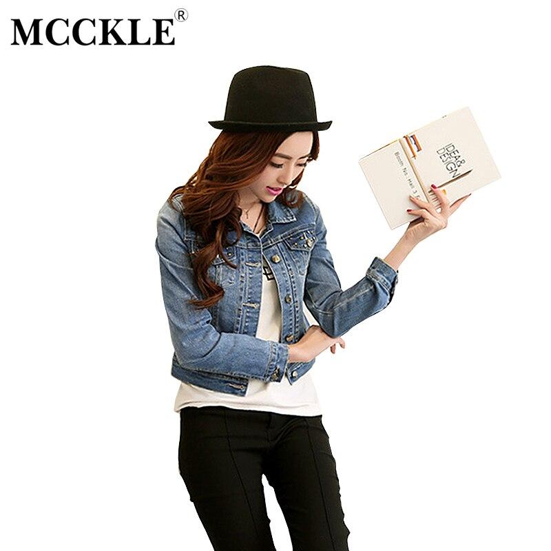 MCCKLE WOMEN Store MCCKLE Rivet Slim Denim Jacket Women 2017 Autumn Long Sleeve Fashion Jeans Jacket Light Washed Short  Feminine Outwear