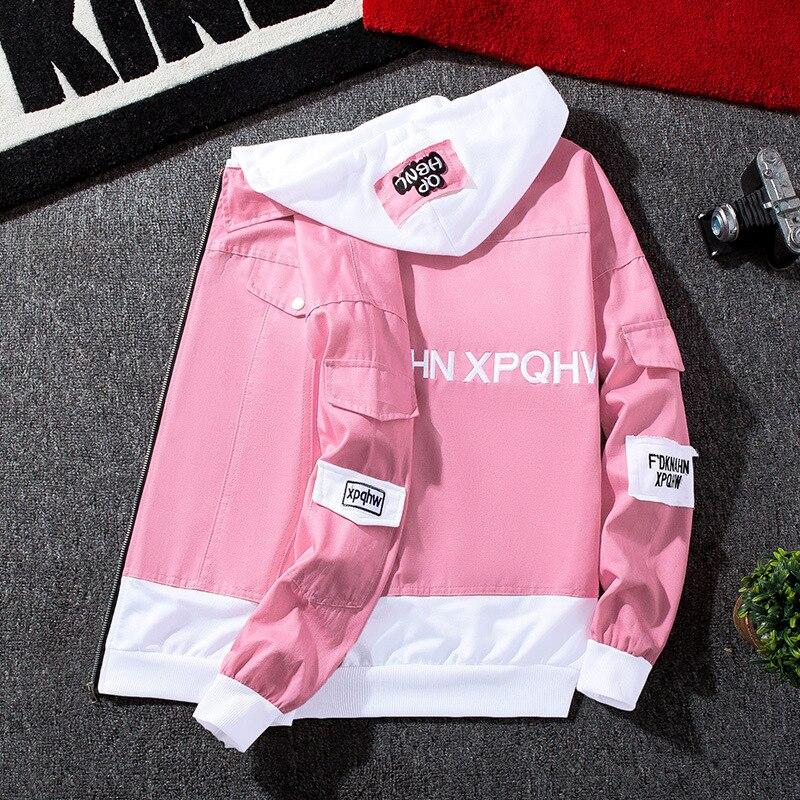 Denim rose Rose Hommes Bomber Homme 2019 Noir vert Déchiré Capuche Streetwear Hip kaki Noir rouge Veste Jeans Hop Mince Printemps À gris Rouge orange MUSzVp