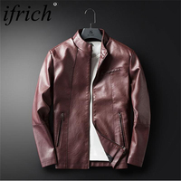 Men's Leather Jacket Men Stand Collar Coats Male Motorcycle Faux Leather Casual Slim Brand Clothing Moto Leather Jackets for Men
