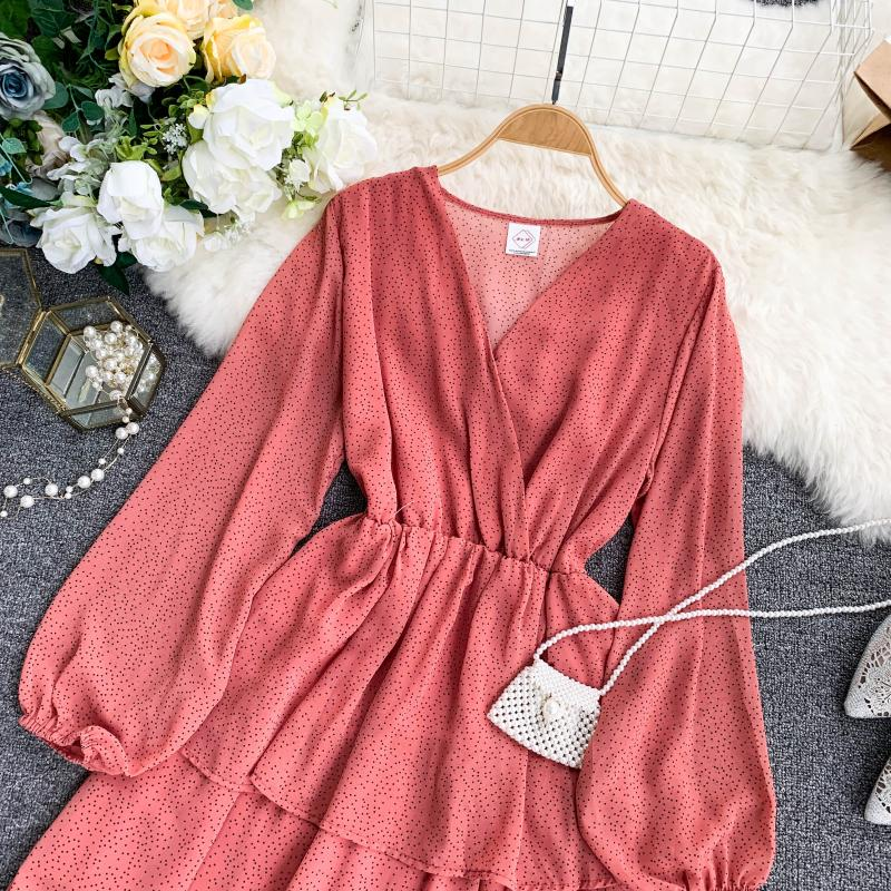 Korean Summer 2019 Sweet Women Dress Elegant V Neck Puff Sleeve Dot Print Dress Cascading Ruffle A Line Female Dress Vestido 44