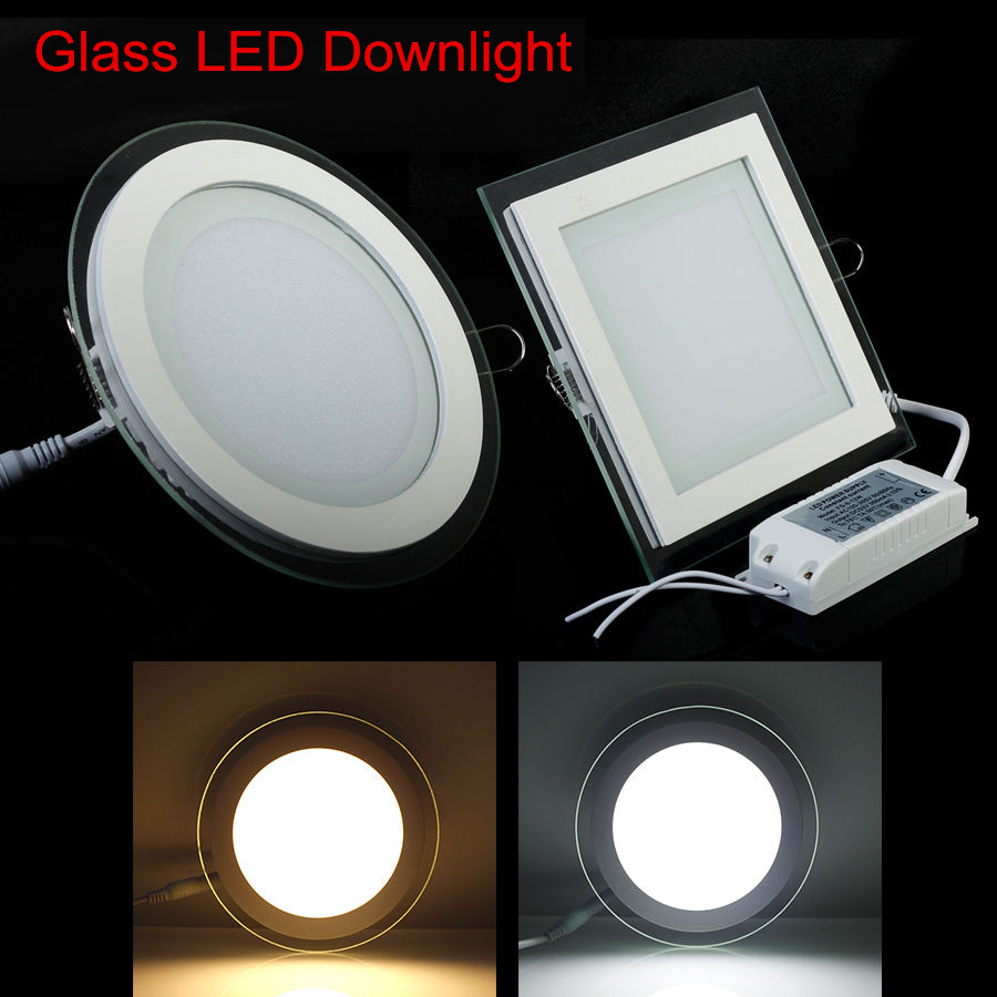 6W 9W 12W 18W Round/Square Glass LED Downlight Recessed LED Panel Light Spot Ceiling Down Light Warm/Natural/Cold White/3 Color