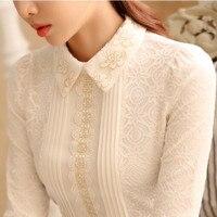 Vrouwen Wees Kraag Lange Mouwen Kant Blouse Elegant Lady Bloemen Borduren Wit Kant Top Herfst Lente Vintage Geplooide Shirt