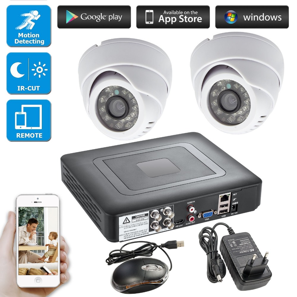 4CH Video Recorder H.264 DVR HD 2000TVL Real Time Cameras Outdoor Security Dome Camera CCTV Surveillance System APP Support KIT цена