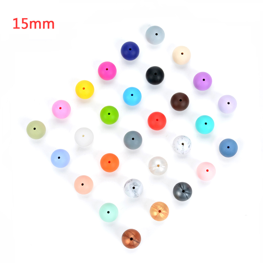 100pieces lot Silicone Beads Baby Teething Beads 15mm Safe Food Grade Nursing Chewing Round Silicone Beads