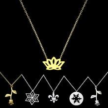 DIANSHANGKAITUOZHE Stainless Steel Lotus Charm Snowflake Pendant Rose Flower Necklace Women Jewelry Fleur De Lis Collier Femme