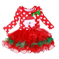 New Year Christmas Baby Girl Dress Red FestivalTulle Costume For Girls Clothes Little Bebes Tutu Dress Children's Clothing