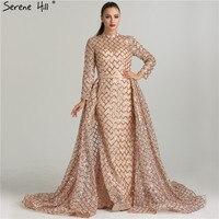 2018 Gorgeous Gold Long Sleeve Glitter Evening Dresses Dubai Arabic Robe De Soiree Party Gown New Design Serene Hill BLA6414