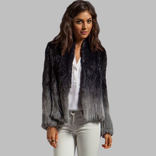 Aliexpress.com : Buy Women Genuine Fur Warm Jackets Gradient Black ...