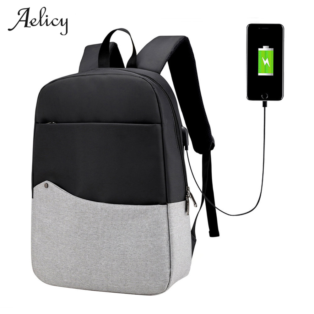 Aelicy Unisex Multifunction Nylon Patchwork USB charging Laptop Backpack Bag Laptop Backpack for Men&Women Travel backpack 2019Aelicy Unisex Multifunction Nylon Patchwork USB charging Laptop Backpack Bag Laptop Backpack for Men&Women Travel backpack 2019