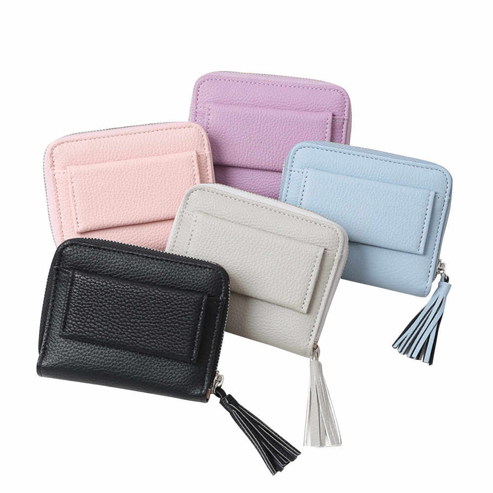 Wallets Small Brand Short Tassel Women's Wallet Multifunction Lady Mini Purse Card Coin Purse Leather Purse Ladies Card Bag