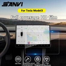 Sanvi 15 Araba sticker Temizle Temperli Cam Ekran Koruyucu için Tesla Model3 navigasyon dokunmatik ekran