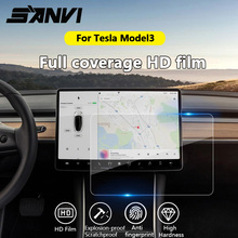 Sanvi 15 Auto aufkleber Klar Gehärtetem Glas Screen Protector für Tesla Model3 navigation touch display screen