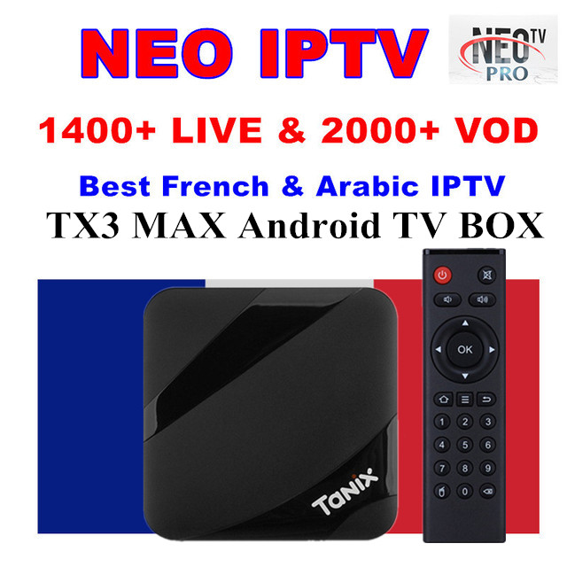 AMOBSAT TX3 MAX Android 7.1 TV BOX S905W Quad Core BT4.1 H.265 4K Smart TV Box With 1 Year NEO French IPTV Subscription Tv Box