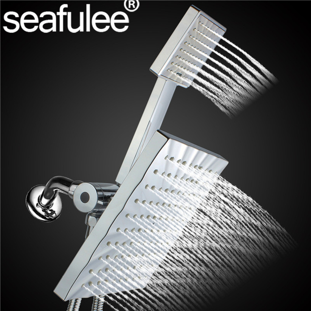 Square Rainfall Jet Shower Head Handheld Combo Abs Chrome Stainless Steel Hose 3