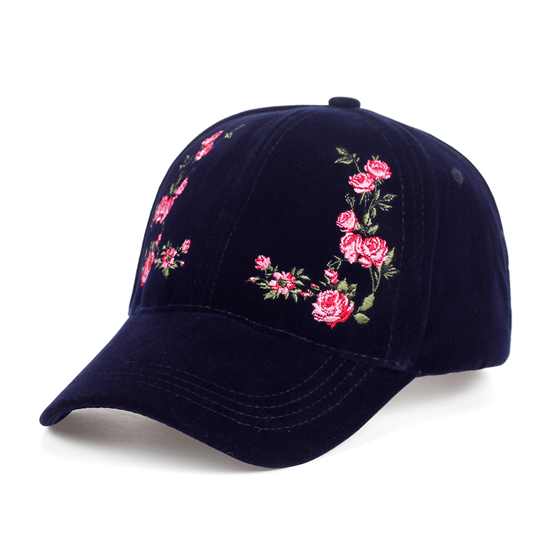 VORON solid color flower embroidery female baseball cap cotton hat fashion women's cap adjustable adult hip-hop cap warm hat cowboy hat cap cap flat top hat lace rhinestone flower hooded fashion tide cap cap riding hood