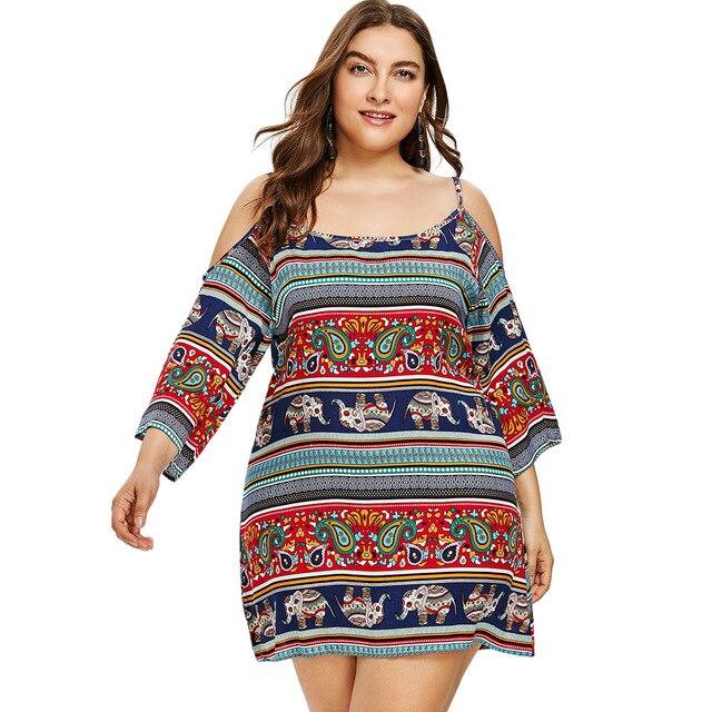 Gamiss Spaghetti Strap Plus Size 5XLCold Shoulder Ethnic Mini Dress Summer  Bohemia Short Dress Off Shoulder Party Beach Sundress 3d2eb1b95005