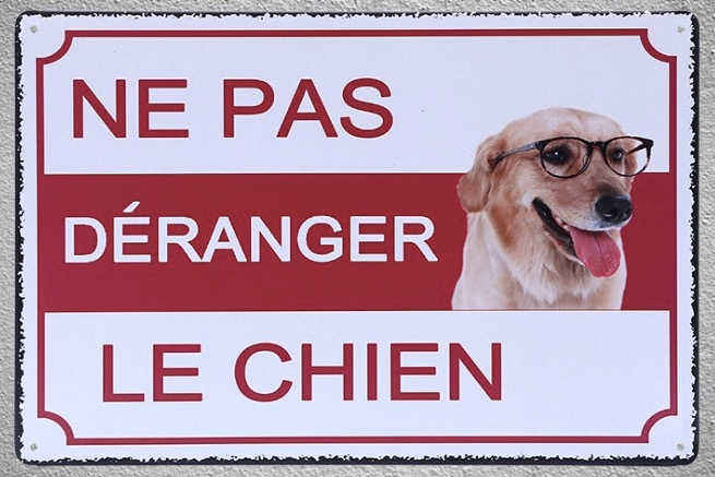 1 pc Ne pas derenger le chien trespassing jardin Tin Plate Sign wall plaques man cave Decoration Art Dropshipping Poster metal in Plaques Signs from Home Garden