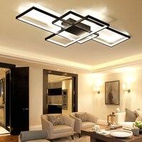 Прямоугольные Алюминиевые Современные светодиодные потолочные светильники для гостиной спальни AC85 265V белый/черный потолочный светильник