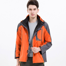 Male Outdoor Sports Three in one Interchange Jacket Wear Resistant Keep Warm Windproof Waterproof Two Piece Suit Windbreaker