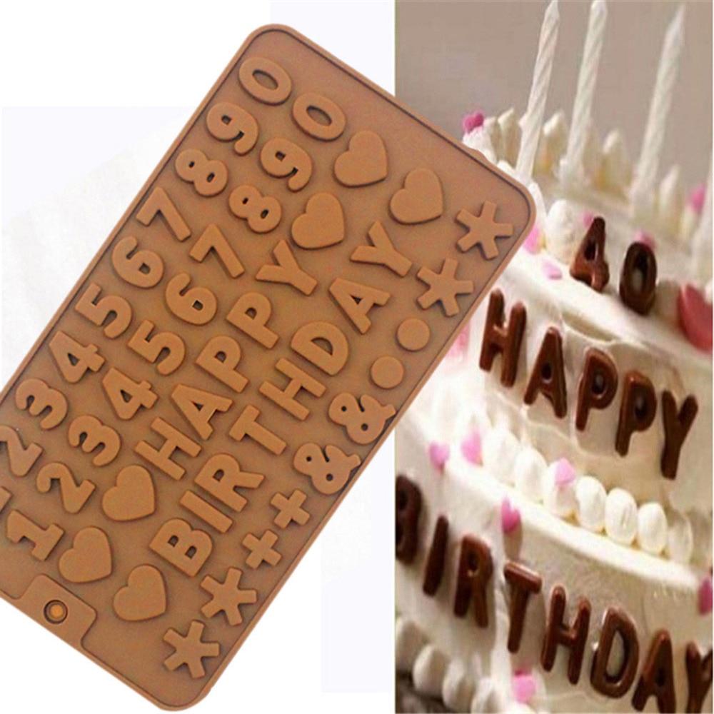 Molde De Silicona Suave Para Pastel De Cumpleaños Decoración Fácil De Limpiar Herramienta De Cocina De Molde De Gelatina De Fondant De Chocolate Duradero