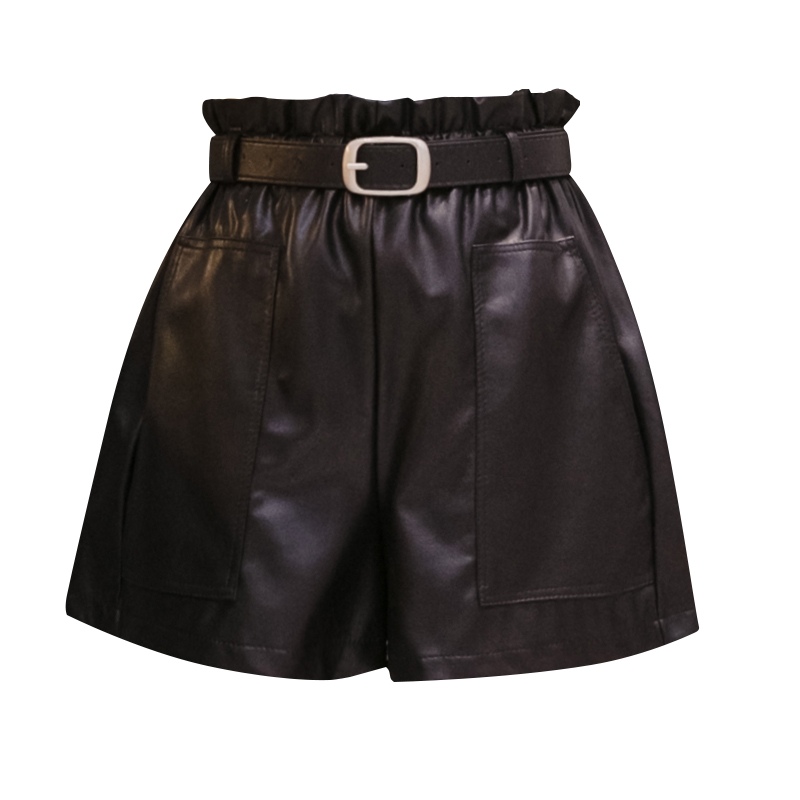 PU Leather Wide legged Shorts Autumn Winter Women Fashion High Waist PU Ruffled Shorts Girls A