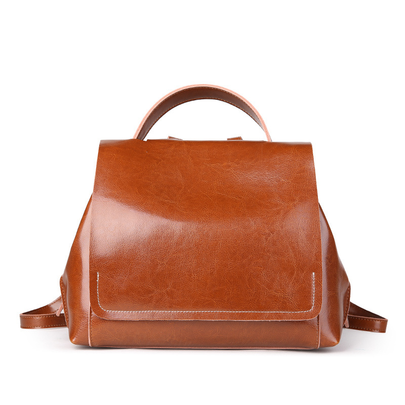 2019 New Women Backpacks Genuine Leather Double Shoulder Bags Female Oil Wax Cowhide Large Capacity Fashion