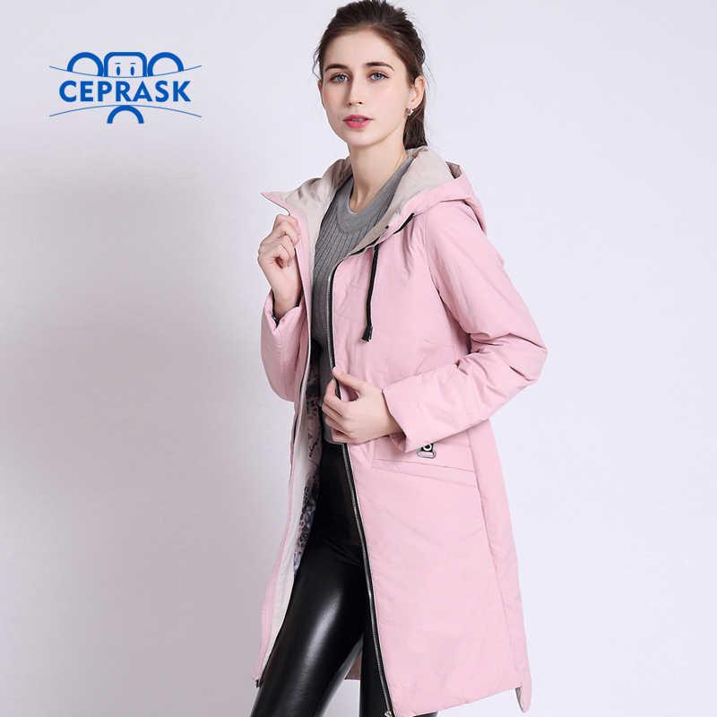 2020 고품질 여성 코트 봄 Autum 여성 Windproof 얇은 파카 긴 플러스 크기 후드 새로운 디자인 여성 자 켓 CEPRASK