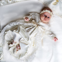 Baby Girl Christening Dresses Long Sleeves Floor Length Lace Baby Baptism Gowns with Headpiece