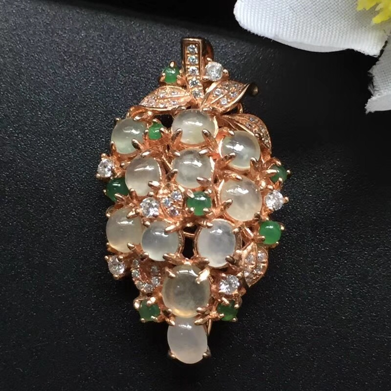 Fine Jewelry Real 925 Steling Silver s925 Myanmer Type A 100% Natural Jade Gemstone Female Pendant Necklaces Christmas GiftFine Jewelry Real 925 Steling Silver s925 Myanmer Type A 100% Natural Jade Gemstone Female Pendant Necklaces Christmas Gift