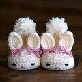 Hecho a mano de encargo de otoño e invierno 0-1 del ganchillo del bebé zapatos zapatos de niño blanco conejo de Pascua
