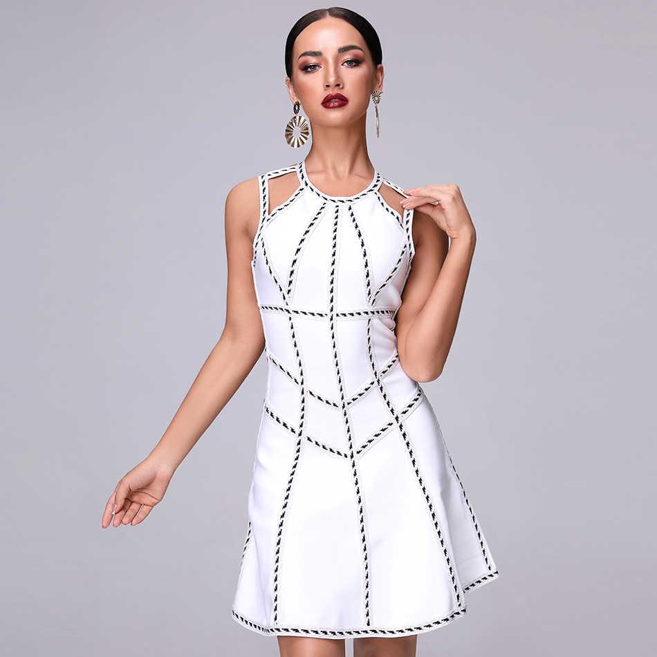 2018 летнее Новое Женское платье без рукавов с круглым вырезом, Бандажное сексуальное обтягивающее платье, вечерние платья знаменитостей, белые платья трапециевидной формы, оптовая продажа