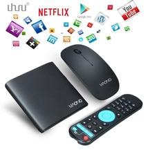Uhuru caixa smart tv android com wifi 4 k 8g caixa de tv quad core kodi netflix pré-instalado com o frete mouse sem fio