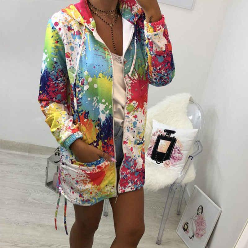 到着ブランド新加入の女性長袖フード付き水墨画カラフルなウインドブレーカーパーカーコート生き抜くソフト服