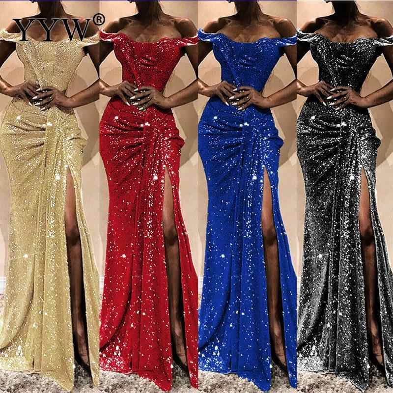 Luxury Bling Sequined Women Evening Dress Sexy Off Shoulder Draped Side Slit Long Party Dress Gold Red Sequin Floor Length Dress