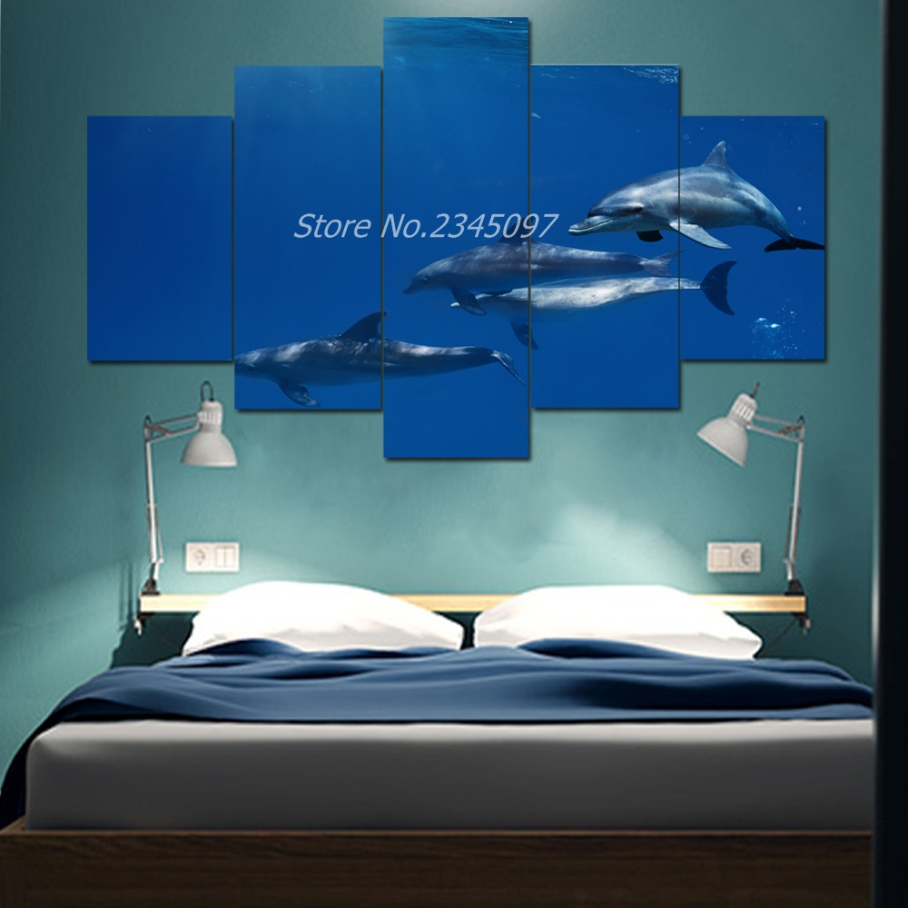online get cheap miami dolphins pictures aliexpress com alibaba seascape canvas wall picture for home decor 5 piece miami dolphins painting canvas art hd printed