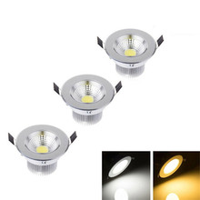 50X DHL  5W/7W/12W/15W Silver-round LED COB Downlight Dimmable Light AC85-265V Cabinet