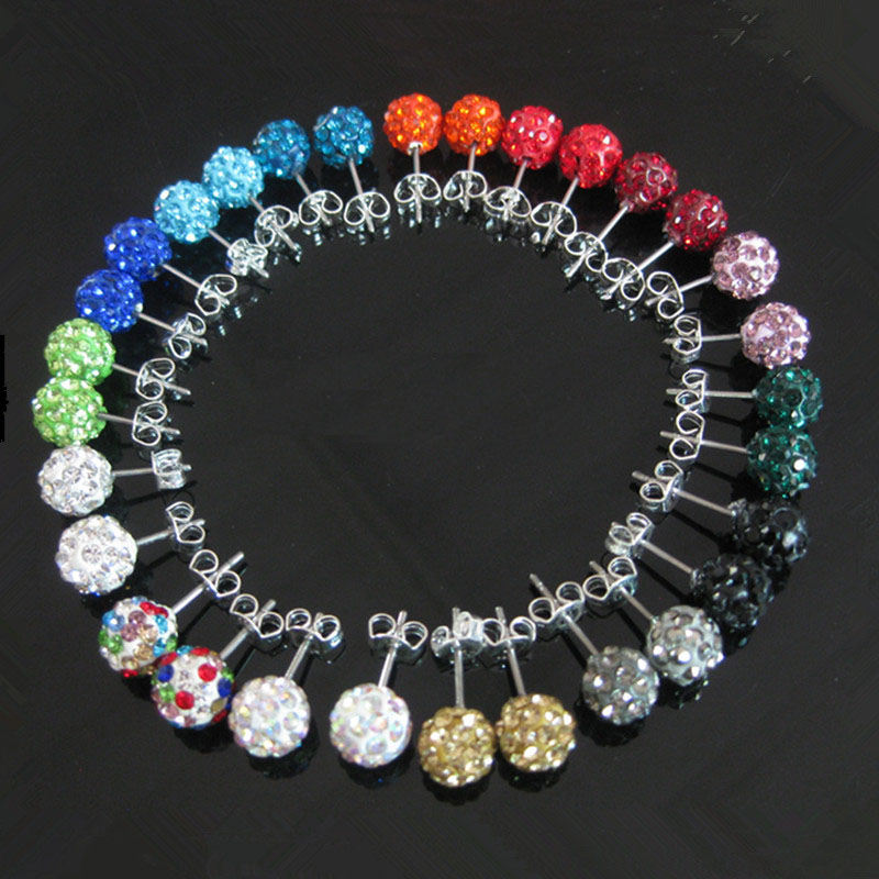 1pair 8MM Shamballa Rhinestones Crystal Fireball Stud Earrings Stainless Steel Earring Backs For Women CZ Ferido Disco Ball