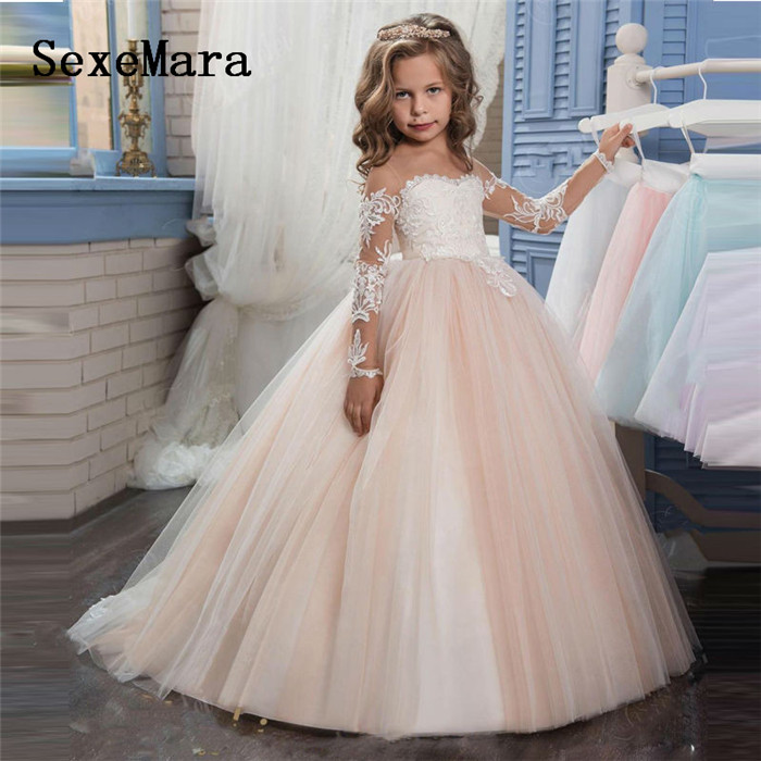 все цены на New Puffy Ball Gown Flower Girl Dress for Weddings Long Sleeves Lace Girls Party First Communion Dress Pageant Gown Vestidos онлайн