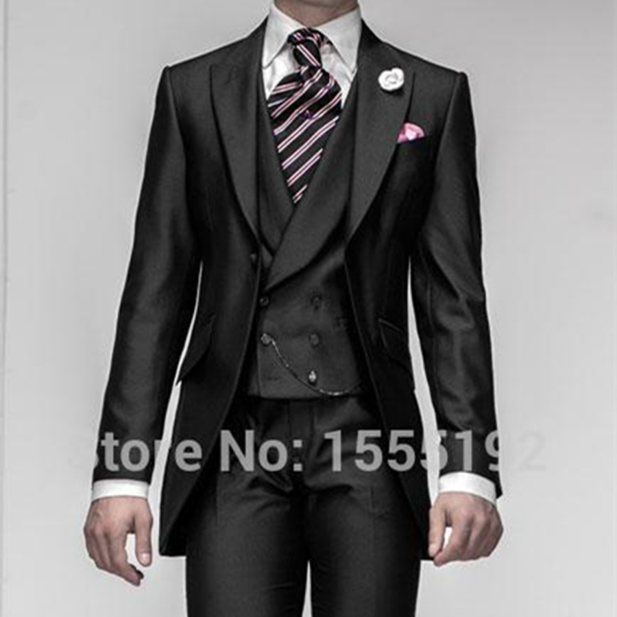 5ee0bb543 Wholesale Black New Stylish One Button Groom Tuxedos Men s Wedding ...